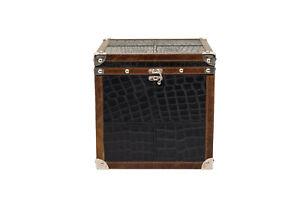 Designer Pure Genuine Black Croco Leather Box