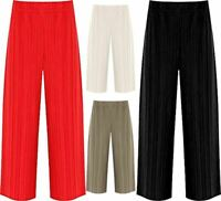 Womens Pleated Elasticated Waist Crinkle Culottes Ladies Stretch Baggy Shorts