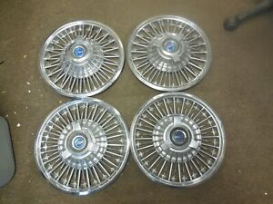 """1965 1966 1967 Ford Mustang Fairlane 14"""" Wire Wheel Covers Hub Caps Set of 4"""