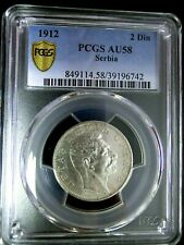 PCGS AU58 Gold Shield-Serbia 1912 Peter I Silver 2 Dinara Scarce