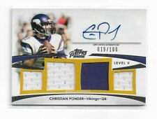 2012 Topps Prime Autographed Relics Level 5 #PVCP Christian Ponder/100