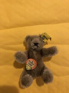 Vintage Miniature Mohair Bendable Steiff Teddy Bear Chest Tag  & Ear button