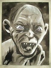 Canvas Painting Lord Of The Rings Gollum Grey B&W Art 16x12 inch Acrylic