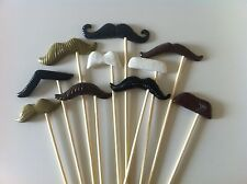 10PCS Photo Booth Props For Wedding/Party POLYMER CLAY Moustache on a stick