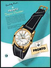 1950's Vintage 1956 Pronto Tropic Master Swiss Watch Mid Century Design Print AD