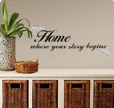 Quote: HOME Where Your Story Begins wall stickers room decor house inspirational