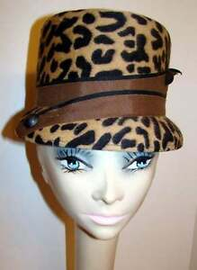 Chic Vintage Felt Leopard Print Hat with Ribbon Accent