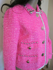 MARC JACOBS classic boucle hot pink studded fringe short jacket  NWT 4 $1900.00