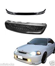 1999-2000 CIVIC 2 3 4 DOOR PU BLACK ADD-ON FRONT BUMPER LIP + MESH GRILL