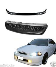 96 97 98 CIVIC 2 3 4 DOOR PU BLACK ADD-ON FRONT BUMPER LIP + MESH GRILL