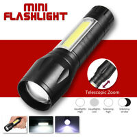 10000LM T6 + COB Rechargeable Flashlight Zoomable LED Torch 18650 USB Light Lamp