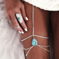 Silver Women Body Jewelry Handmade Beach Chain Tassel Thigh Leg Chain Bracelet