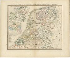 Antique Map of the Netherlands in 1530 by Mees (1852)