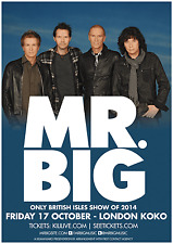 """MR. BIG """"ONLY BRITISH ISLES SHOW OF 2014"""" LONDON CONCERT TOUR POSTER - Hard Rock"""