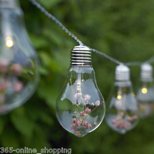 10x Novelty Edison Light Bulb String Lights + Flowers Indoor Outdoor Battery New