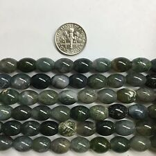 "Moss Agate 8x10mm Oval Barrel Natural Gemstone Beads 15.5 ""for Jewelry Making"