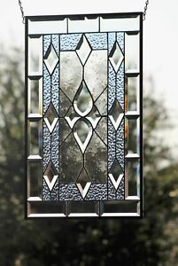 """2 Available OH BOY-Beveled Stained Glass Window Panel≈24 5/8 x 14 1/2"""""""
