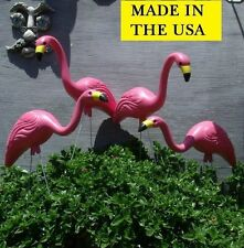 4 LG Pink Flamingos Plastic Yard Garden Lawn Art Ornaments Decoration Stakes
