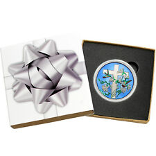 Religious Cross 1oz .999 Silver Medallion Enameled (Silver Bow Box)