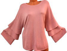 Time and tru pink scoop neck overlay women's long sleeve sweater top XXXL