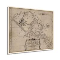 HISTORIX Vintage 1747 Northern Neck of Virgina Map Print