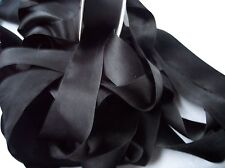 "100% PURE SILK SATIN RIBBON [36MM] 1 1/2"" WIDE ~BLACK~ 3 YDS ~ FINAL LOTS~"