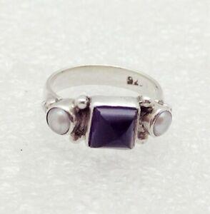 Vintage 925 Sterling Silver Amethyst & Pearl Ring Sz. 5
