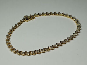 14k Solid Two Tone S Link Gold Diamond Tennis Bracelet