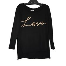 Lauren Conrad Love Pullover Knit Top Womens S Black Golden Embellished Stretch