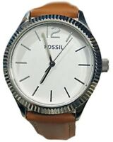Fossil White Dial Brown Leather Silver Tone Women's Watch BQ3074