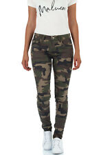 Malucas Damen Jeans Normaler Bund Camouflage Skinny Hose Mid Waist Röhrenhose