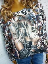 Weiches Oversize Shirt Leichtstrick Pullover mit Motiv 36 38 40 (42)