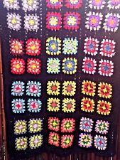 Handmade Crochet Granny Squares Afghan Throw Blanket Black/Green/Pink 48 x 32