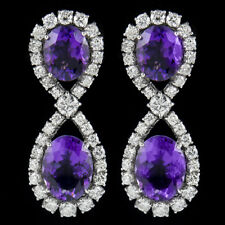 Earring 18k White Gold and brilliant Diamond & Amethyst
