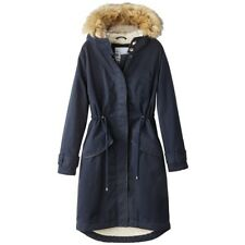 LA REDOUTE LADIES FAUX FUR HOODED PARKA COAT NAVY SIZE 8 NEW (ref F3)