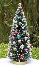 "8½"" Green w Frost & Beads Sisal Bottle Brush CHRISTMAS TREE ~ Snow Village Putz"
