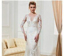 wedding dress lace  long sleeve ivory champagne detachable train size  12