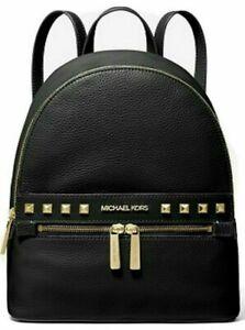 NWT MICHAEL KORS KENLY MEDIUM BACKPACK BAG BLACK LEATHER GOLD STUDS WOMEN GIFT