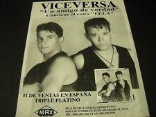 VICE VERSA #1 De Ventas En Espana Triple Platino 1994 PROMO DISPLAY AD mint cond