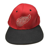 Vintage 90s Logo 7 Detroit Red Wings Adjustable Snapback Hat Embroidered Red
