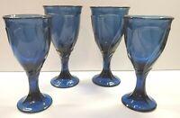 4 Noritake Dark Blue Midnight Sweet Swirl Japan Stemmed Glasses Cobalt