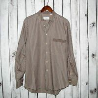 PANCALDI & B Made in Italy Men's Button Front Dress Shirt Beige Blue Red Striped