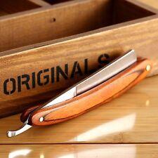 Stainless Steel Wood Handle Straight Edge Barber Razor Folding Shaving Knife Gif