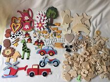 Huge Mixed Lot Wooden Wood Cut-Outs Pieces for Painting Arts & Crafts