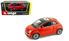 2007 Fiat 500 With Sunroof Red 1/24 Scale Diecast Car Model By Bburago 22106