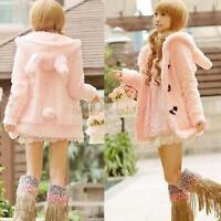 Women Girl Cute Bunny Rabbit Ears Hoodie Coat Winter Warm Jacket Outerwear Tops