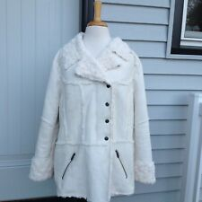 Sugarfly Sweater Bar Coat Jacket Off White Super Soft Notched Collar Zip Flaws