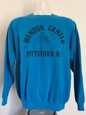 Vtg 80s Mendon Center Pittsford Ny Sweatshirt L/Xl Raglan Hanes Turquoise