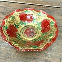 Antique  Red Green Gold Rose Floral GOOFUS GLASS BOWL Ruffled Sawtooth Edge