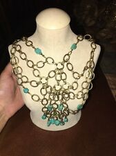 Embellished Brass Necklace Calypso St Barth Turquoise
